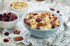 Jabłczany Pecan suszył cranberries i brązów dzikich ryż fotografia stock