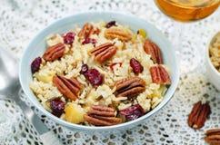 Jabłczany Pecan suszył cranberries i brązów dzikich ryż fotografia royalty free