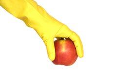 jabłczany rękawiczkowy ręki biel kolor żółty Obraz Stock