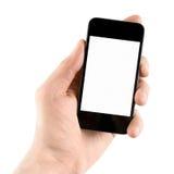 jabłczany ręki mienia iphone odizolowywający Zdjęcia Stock