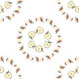 Jabłczany sedno, przyrodni jabłczany bezszwowy wzór Obraz Stock