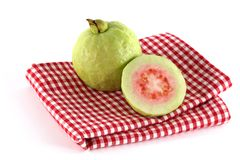 jabłczany w kratkę sukienny świeży guava menchii stół Zdjęcie Stock