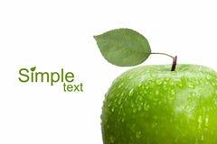jabłczanych kropel zielona liść woda Obraz Royalty Free