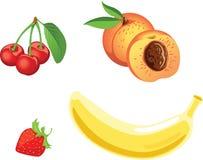 jabłczanych tła bananów owocowy winogron bonkrety setu wektoru biel Obraz Stock