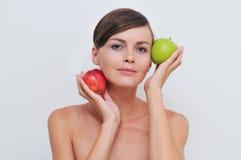 jabłek dziewczyny zieleni czerwień Zdjęcie Royalty Free