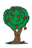 jabłek sztuki kreskówki odliczający czerwony drzewo Obrazy Stock