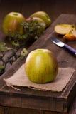 Jabłka czerwień i zieleń częsciowo pokrojeni, Zdjęcia Stock