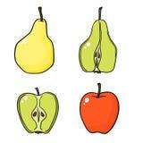 Jabłka i bonkrety na białym tle Obrazy Royalty Free