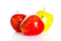 Jabłka odizolowywający na białych tło owoc zdrowym odżywianiu Fotografia Stock