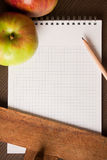 jabłka opróżniają podręcznika Obraz Stock