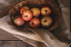 Jabłka w Łozinowym Koszu obraz stock