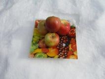 Jabłka w śniegu Zdjęcia Royalty Free