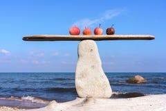 Jabłka w równowadze na kamieniu zdjęcia royalty free