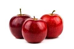 jabłko czerwień trzy Zdjęcia Royalty Free