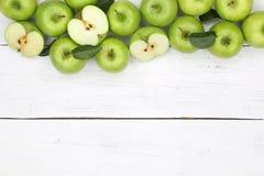 Jabłko jabłczane owocowe owoc zielenieją copyspace odgórnego widok Obrazy Stock