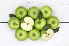Jabłko jabłczane owocowe owoc zielenieją odgórnego widok Obraz Stock