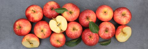 Jabłko owoc sztandaru jabłczanego owocowego łupku czerwony odgórny widok fotografia stock