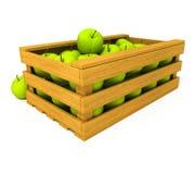 jabłko pudełkowate owoców odizolowane, drewniany ilustracji