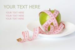 jabłko - taśma zielony pomiarowy półkowy biel Zdjęcie Royalty Free