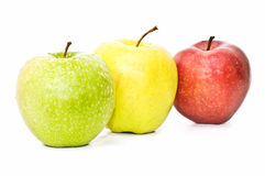 jabłko - zielony czerwony kolor żółty Zdjęcie Royalty Free