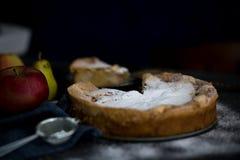 jabłkowe ciasto domowej roboty Jabłczanego kulebiaka tarta, składniki i cynamon na nieociosanym drewnianym tle, - jabłka Obrazy Stock