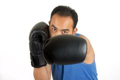 Jab 2. Boxer throwing a left jab Royalty Free Stock Images