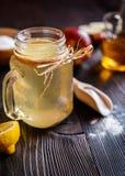 Jabłczanego cydru ocet, cytryna i wypiekowa soda, pijemy Zdjęcia Stock