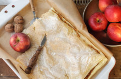 Jabłczanego kulebiaka Odgórnego widoku kraju dom Fotografia Stock
