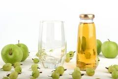 Jabłczany sok w szklanej butelce Zdjęcia Royalty Free