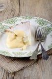 Jabłczany tarta z custard na talerzu Zdjęcia Stock
