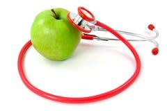 jabłczany zdrowy stetoskop Zdjęcia Stock