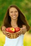 jabłek koszykowa mienia kobieta Obrazy Stock