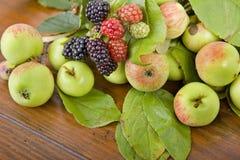 Jabłka i malinki Zdjęcia Royalty Free