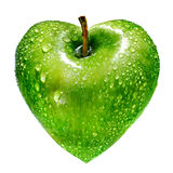 jabłko jako zielony serce Ilustracji