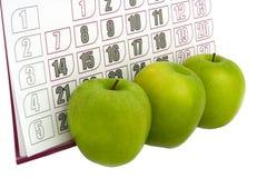 jabłko kalendarz Fotografia Royalty Free