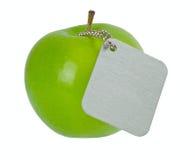 jabłko - metal zielona etykietka Zdjęcia Stock