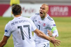 Jaba Kankava R, após o objetivo marcado, durante o jogo da LIGA das NAÇÕES do UEFA entre a equipa de futebol nacional Letónia e o foto de stock royalty free