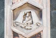 Jabal, Florence Cathedral. Jabal by Nino Pisano, 1334-36., Relief on Giotto Campanile of Cattedrale di Santa Maria del Fiore Cathedral of Saint Mary of the stock photo