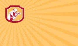Μπόξερ επαγγελματικών καρτών που εγκιβωτίζει τη δευτερεύουσα ασπίδα διατρήσεων Jabbing αναδρομική Στοκ Εικόνα