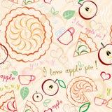 Jabłczanego kulebiaka Kreskowej sztuki wzór Zdjęcie Stock