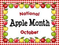 Jabłczany miesiąc, Czerwona Gingham Tablecloth miejsca mata Fotografia Stock