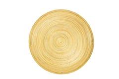 Jabłka w drewnianym talerzu na białym tle Zdjęcia Royalty Free