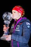 JABLONEC NAD NISOU, TSJECHISCHE REPUBLIEK - 23 MAART: Tsjechische biathlete Gabriela Koukalova nee Soukalova kust de Wereldbekert royalty-vrije stock foto