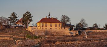 Jablonka-Schloss in der Hauptstadt Prag nahe Holesovice-Station lizenzfreies stockfoto