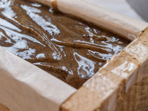Jabón hecho en casa del café Imágenes de archivo libres de regalías