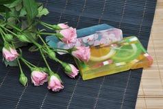 Jabón natural hecho a mano del balneario Imágenes de archivo libres de regalías