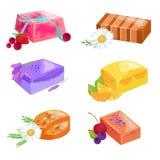 Jabones de barras hechos en casa, flores y aceite esencial Iconos del vector fijados Foto de archivo libre de regalías
