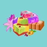 Jabones de barras hechos en casa, flores y aceite esencial Iconos del vector fijados Imagen de archivo libre de regalías