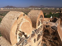 Jabreen Castle. Detail of Jabreen Castle battlements, Ad Dakhiliyah region, Sultanate of Oman Royalty Free Stock Photos