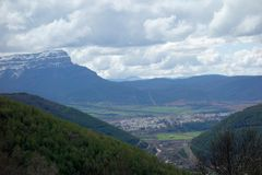 Jaca from the mountain ridge non-urban scene.  stock photos
